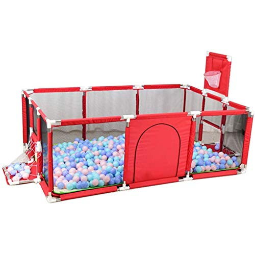 FFYN Corralito de Seguridad para bebés, corralito portátil para Tienda de campaña con Canasta de Baloncesto, Malla Transpirable, para Interiores al Aire Libre, Patio de Juegos para niños, Rojo
