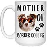 N\A Funny Mother of Border Collie Blanco Negro Blanco Tri Color Sunset Retro White Coffee Mug