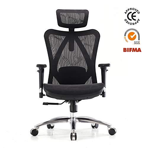 Martunis Bürostuhl, ergonomischer Bürostuhl, hohe Rückenlehne, verstellbare Lendenwirbelstütze, 3D-Armlehne, hautfreundlich, Netzstoff, CE-geprüft standard