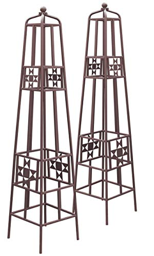 Panacea 83201 Rustic Farmhouse Quilt Obelisks, Rust, 48', Pack of 2