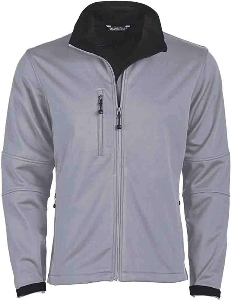 River's End Mens Soft Shell Jacket Athletic Fleece Lined - Grey - Size XLT
