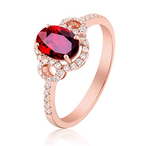 AueDsa Ring Red Rose Gold 18K Rose Gold Engagement Rings for Women Diamond Halo Ring with Oval Ruby 0.52ct Ring Size N 1/2