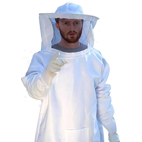 BURHAIR Professional White Beekeeping Suit, Jacket, Pull Over, Smock with Self Supporting Veil for Beginner & Commercial Bee Keepers 2XL White