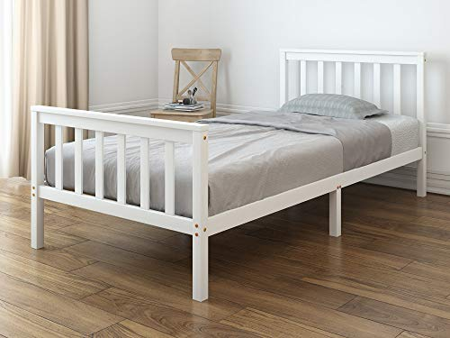 Panana Single Bed Frame 3ft Pure Solid Wooden Frame White
