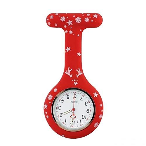 FGMGFTG Reloj de Broche Duradero Reloj del silicón Feliz Navidad Enfermera Reloj Digital Colgante Broche del Cuarzo del Reloj Enfermero Doctor Paramédico Médico (Color : Red)