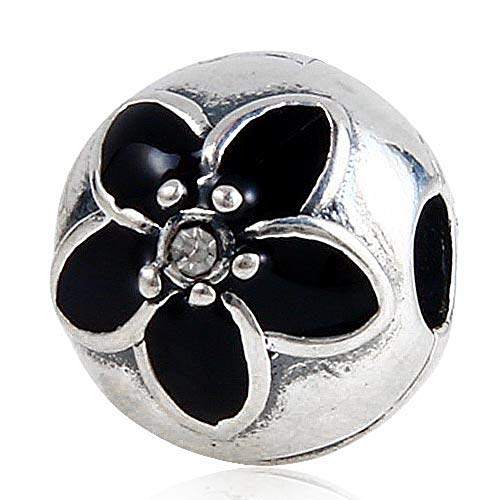 Mystic Floral Clear CZ Charm - 925 Sterling Silver&Enamel Beads - Fits European Bracelet or Necklace
