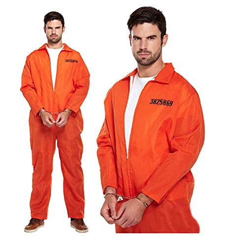 thematys Gefängnis Overall Orange + Handschellen - Sträflingskostüm für Damen & Herren - perfekt für Fasching, Karneval & Halloween, Größe 165-180cm