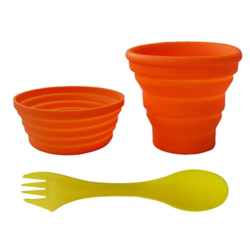 Ecoart Silicone Collapsible Bowl Cup Set with Spork for Outdoor Camping Hiking Travel, Orange - Set of 3