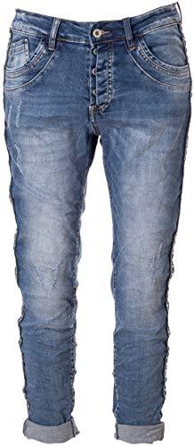 Basic.de Damen-Hose Skinny mit Kontraststreifen aus Metall-Nieten Melly & CO 8176 Jeans S