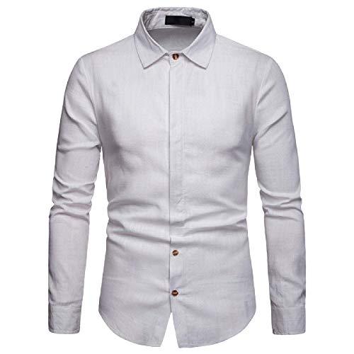 Camisa de Manga Larga con Solapa de Primavera y otoño para Hombres, Camisas con Botones Formales de Negocios Informales y Ajustados sólidos clásicos XXL