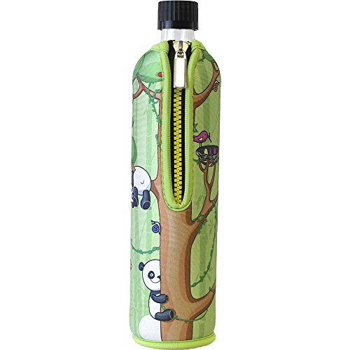 Dora´s Glasflasche mit Neoprenbezug 500 ml (Dora´s Panda grün)