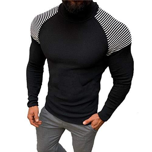 Jersey Ajustado de Manga Larga para Hombre, Cuello Alto, Color Block, Costura de Moda, Ropa de Calle, Tendencia, suéter de Punto Informal L