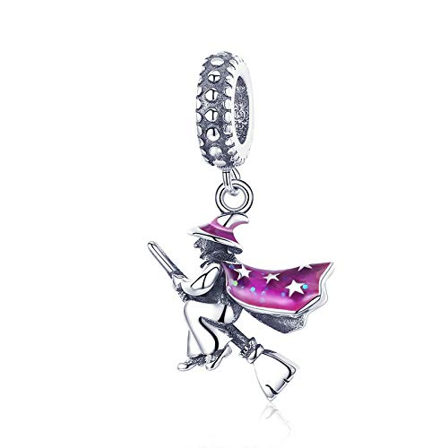 Charm de Mujer,Encantos de bruja mágica Charms de bruja de Halloween chapados en plata Colgante de esmalte púrpura Bead fit for Bangle Accessories Joyería Gift