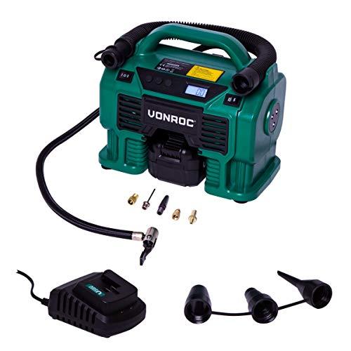 VONROC Compresor a batería 20 V VPower y toma de mechero de 12 V VPower – Batería de 4,0 Ah, cargador – 5 adaptadores, 2 anillos de reducción y válvula incluidos