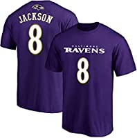 NFL Youth 8-20 Team Color Polyester Performance Mainliner Player Name and Number Jersey T-Shirt (Medium 10/12, Lamar Jackson Baltimore Ravens Purple)