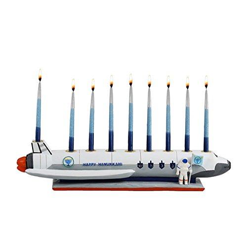 Zion Judaica Polyresin Spaceship Menorah Chanukah in Outer Space
