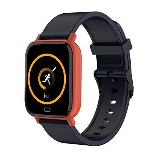 MEETGG Reloj inteligente con pantalla táctil, monitor de actividad física, frecuencia cardíaca, monitor de sueño, impermeable, podómetro, recordatorio de teléfono, masculino y femenino, color rosa