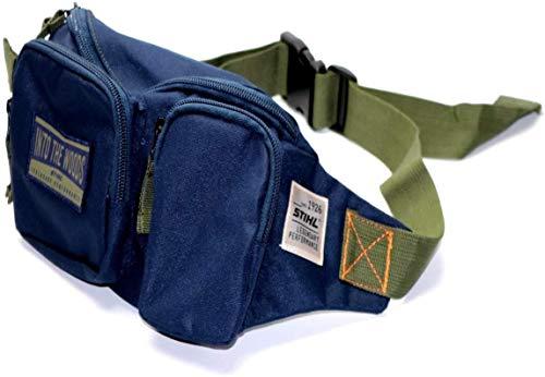 Stihl Gürteltasche Blau Gewachst, Hüfttasche mit Reißverschluss, Bauchtasche