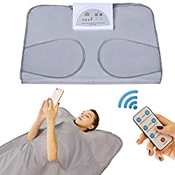 PinJaze Infrared Sauna Blanket, 71'' (L)×32'' (W) 2-Zone Digital Control Personal Sauna,Sauna Blanket for Weight Loss and Detox at Home,2020 Upgraded Version 110V US Plug(with Button Battery)?Silver?
