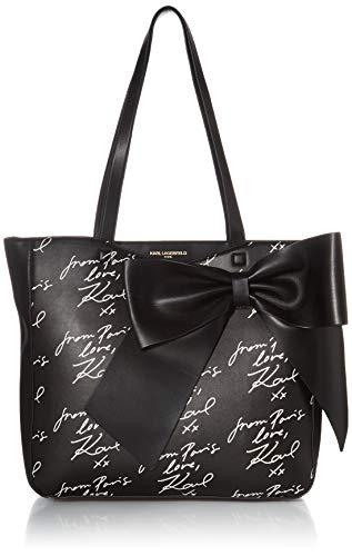 Karl Lagerfeld Paris Canelle Large Bow Tote, Black Script