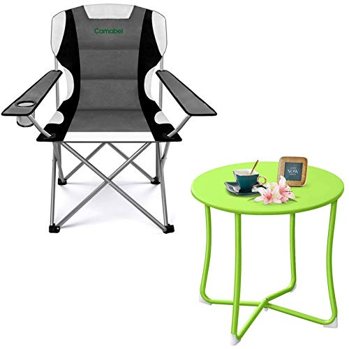 """Metal Patio Side Table 18"""" x 18"""" Bundle Camabel Folding Camping Chairs Outdoor Lawn Chair"""
