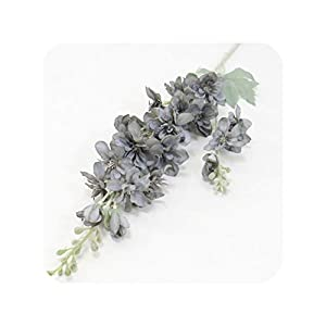 NA 87 cm Violet Delphinium DIY Orchid Bouquet Silk Hyacinth Continental Artificial Flowers Wedding Home Party Christmas Decoration,Gray