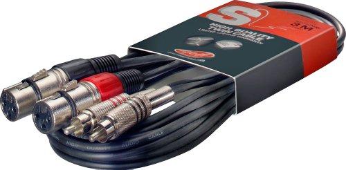 Stagg STC3 Cavo S Serie per Microfono 2 x Jack Fono, Gemello RCAm a XLRf, 3m