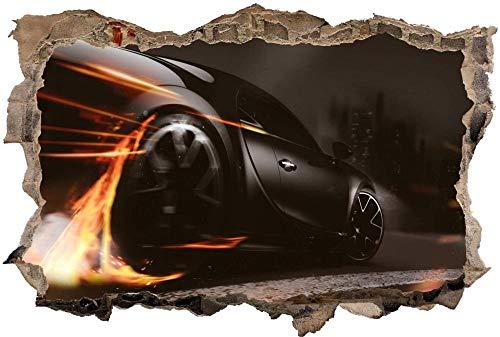 Calcomanía de Pared 3D Coche deportivo coche auto Agujero Etiqueta de La Pared Adhesivos de Pared para Interior Hogar Sala de Estar Decoración de Oficina 80x125cm