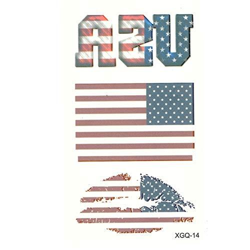 JUSTFOX - Temporäres Tattoo USA Fan Fahnen Kussmund Set Design Klebetattoo