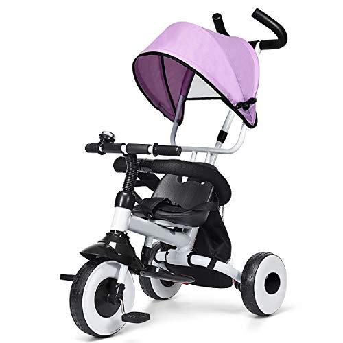 DREAMADE Kinderdreirad mit Sonnenverdeckt, Dreirad Kinder klappbar, Kinderfahrrad mit Schiebestange, Kinderwagen Schiebewagen (Pink)