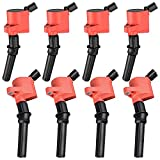 Ignition Coil Pack Compatible with Ford F150 F250 F350 Crown Victoria E150 Excursion Expedition Explorer Mustang - Lincoln Navigator Town Car - Mercury Grand Marquis - 4.6L 5.4L 6.0L 7.3L V8 Red