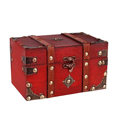SICOHOME Treasure Box, 7.1 Treasure Chest with Pirate Trinkets, Vintage Wooden Decorative Box for Jewelry, Tarot Cards, Gift Box, Gifts and Home Decoration