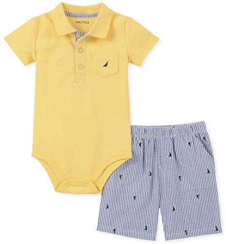 Nautica Baby Boys 2 Pieces Bodysuit Shorts Set, Yellow/Blue, 24M