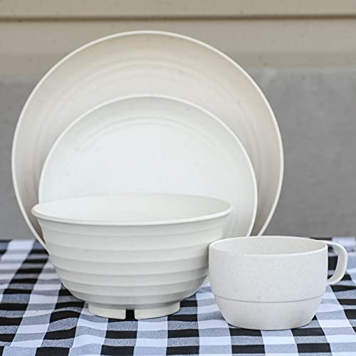 Wheat straw dinnerware sets - camping dishes - natural microwave safe dishes for campers - RV dishes - dishwasher safe - microwavable service for four - unbreakable dishes