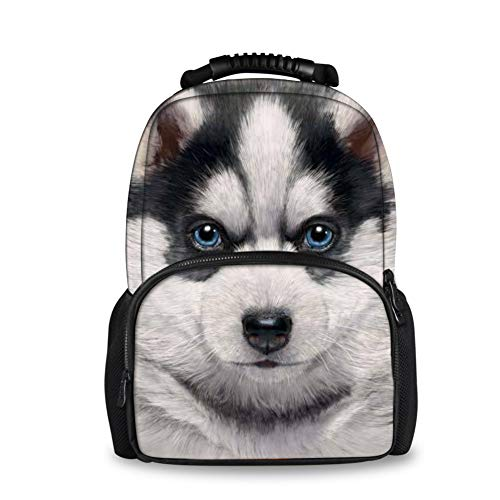 INSTANTARTS Student School Bookbag Felt Backpack Siberian Husky Shoulder Schoolbag