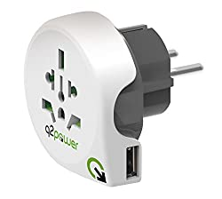 Travel around the world with just one little Adapter that fits into the palm of your hand Power and charge all your earthed, unearthed and USB devices Q2power stands for Quality to Power Single Plug