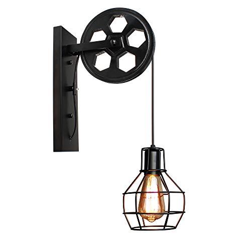 Creativa Lámpara de Pared Industrial Retro Apliques, Forma de Jaula con Polea...