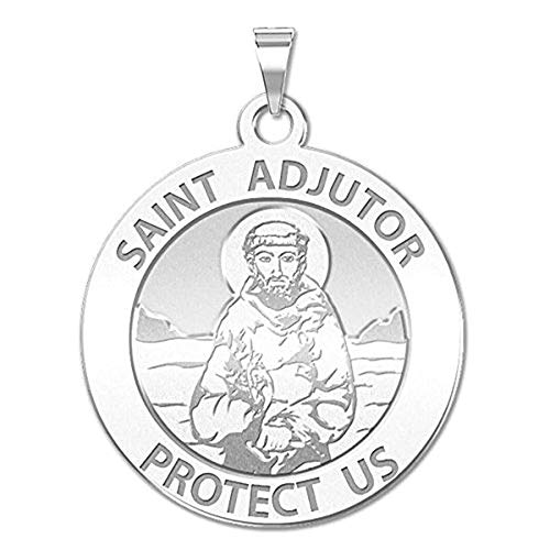 PicturesOnGold.com Saint Adjutor Religious Medal - - 1 Inch Size of a Quarter -Solid 14K White Gold