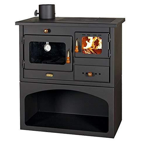 Holzofen mit Kochmöglichkeit und Rauchabzug links, für Festbrennstoff Heizleistung: 10 kW. Backofen und 3 Gusseisen-Herdplatten zum Kochen.