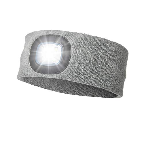ATNKE LED beleuchtetes Stirnband, wiederaufladbarer USB-Laufhut 4 LED-Lampe mit wasserdichtem Licht und Blinkender Alarmscheinwerfer Hohe Stretch Multi-Color/Grau