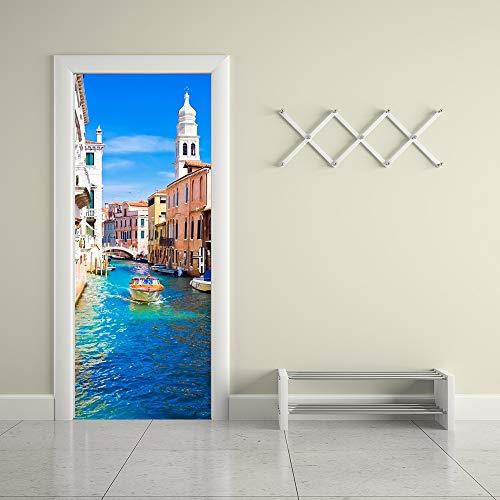 Türaufkleber Venedig Zhenjiang 3D Wandbilder Pvc Selbstklebende Wandaufkleber Tür Aufkleber Tapete Hd Aufkleber Wohnzimmer Home Decor Poster 95 X 215Cm