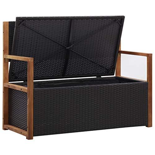 Tidyard Tuinbank, opbergbank, bank met opbergruimte, parkeerbank, zitbank, rotan bank, tuinmeubelen, kussenbox, 110 x 56 x 87 cm, met zitkussen, massief hout acacia