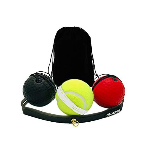 Realde Box Bällen & Stirnband | Perfektes Reflex Training für Boxen | Steigern Sie Ihre Geschwindigkeit mit dem Kickboxen und Boxen Trainingsgerät Speedball (Schwarz + Rot+Gelb)