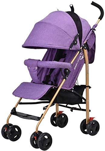 Bebé Carro Puede Sentarse y acostarse Ultraligero Plegable Cochecito Mini portátil Simple Cochecito + Manguito + Cubierta de la Lluvia Productos del bebé (Color: Lino púrpura) ZHANGKANG