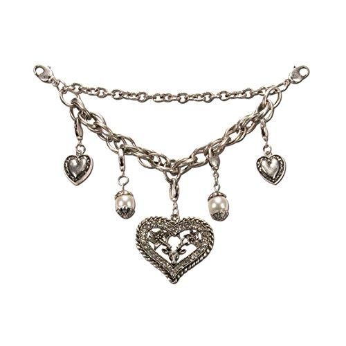 Charivari Trachtenkette Strass-Herz mit Hirsch - Dirndlkette mit Trachten-Herzen und Perlen, Trachtenschmuck für Trachtenbluse und Lederhose, Dirndl-Schmuck fürs Oktoberfest (antik-silber-farben)