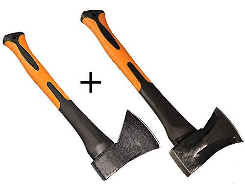 Juego de 2 hachas de 600 g + 1 kg con mango de fibra de vidrio de alta calidad y manejable para cortar madera
