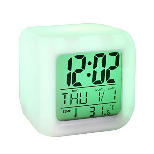 Despertador Cuadrado Que Cambia de Color Colorido, Ocho Configuraciones de Sonido de Alarma, Pantalla de Temperatura, Adecuado para Adultos y NiñOs, TamañO 8 * 8 * 8 Cm,Four Batteries