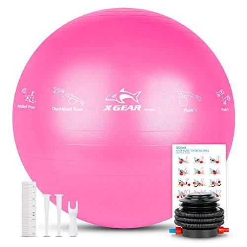 XGEAR Balle Fitness 55cm 65cm 75cm Anti-éclatement Anti-dérapant Yoga Swiss Ball avec Pompe à Pied,Différentes Tailles & Coloris,Fitness Gym Yoga Pilates Core Training Thérapie Physique,Rose 75cm