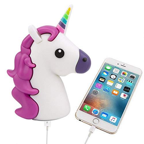 UBMSA Einhorn Emoji-Powerbank 2600mAh Externes Akkus Ladegerät im Unicorn-Emoji-Design in Lila für Smartphones Handy Phones und andere Geräte mit USB-Anschluss - inklusive Micro USB-Ladekabel