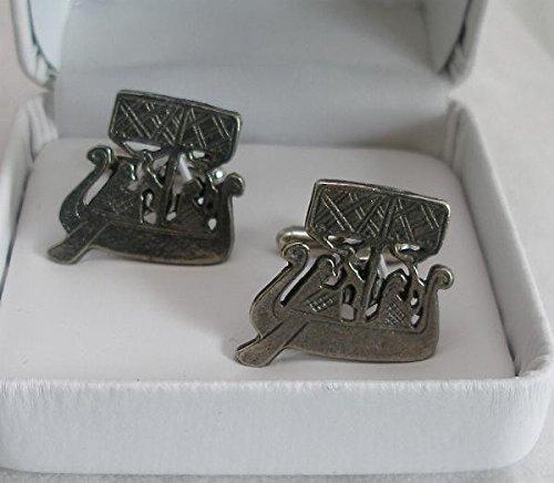 Boutons de Manchette Bateau Viking (avec Boîte à Cadeau)